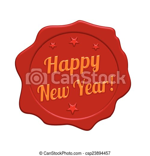 Happy new year red wax seal - csp23894457