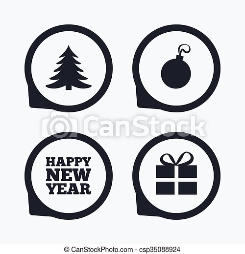 Happy New Year Sign Christmas Tree And Gift Box Happy New Year