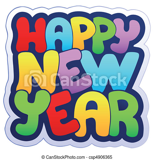 happy new year sign vector illustration