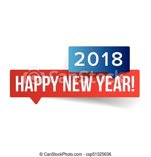 Happy new year sign speech bubble vector.