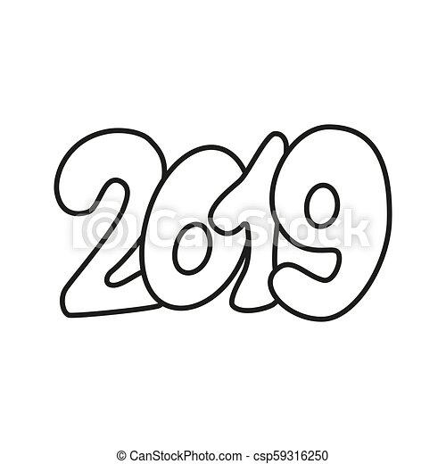 happy new year text design 2019 csp59316250