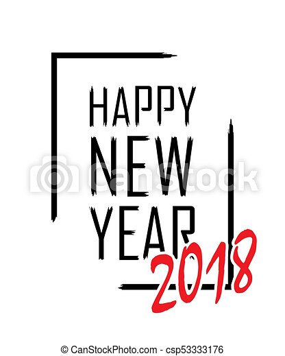 happy new year text in focus frame black border and font happy new year isolated on white