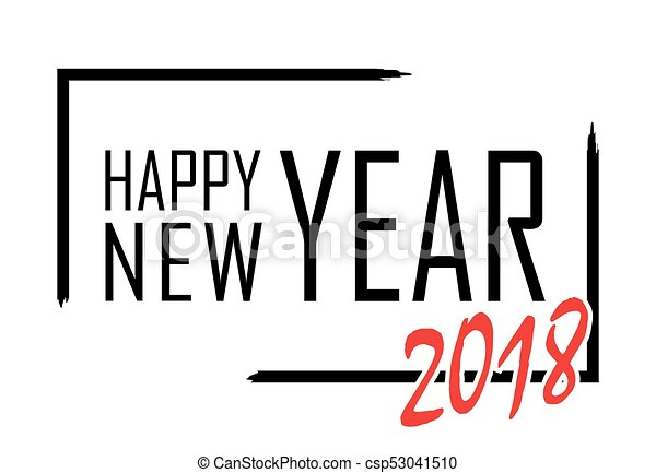 happy new year text in focus frame black border and font happy new year on white background