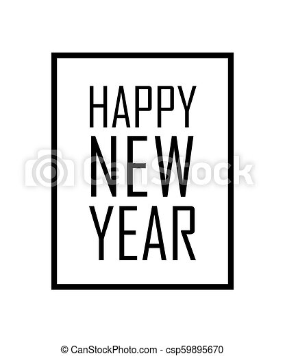 happy new year text in frame black border and font happy new year isolated on white background