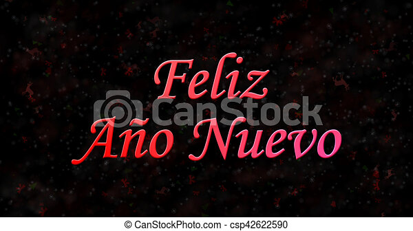 happy new year text in spanish feliz ano nuevo on black background csp42622590