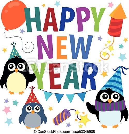Happy New Year theme with penguins - csp53345908