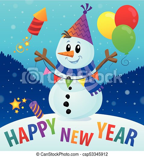 Happy New Year theme with snowman 2 - csp53345912