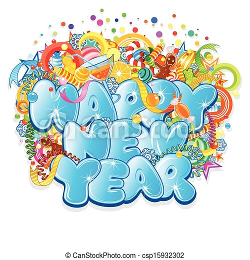 Happy New Year Title. Vector Design - csp15932302