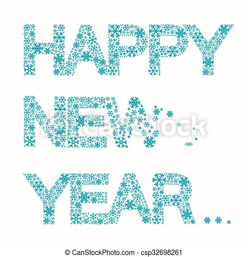 Happy new year title - vector snowflakes slogan isolated on white ...
