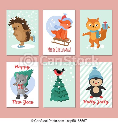 happy new year vector flyers merry christmas postcard with cute winter animals