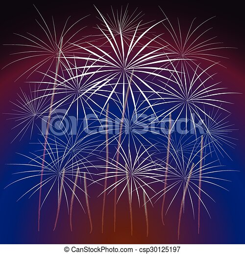 Happy New Year with fireworks  - csp30125197
