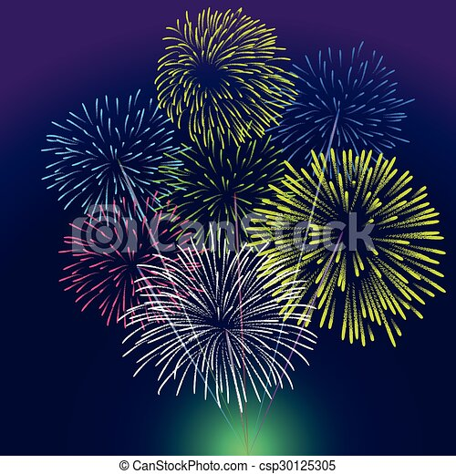 Happy New Year with fireworks  - csp30125305