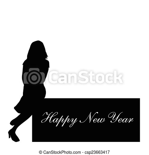 happy new year with girl vector - csp23663417