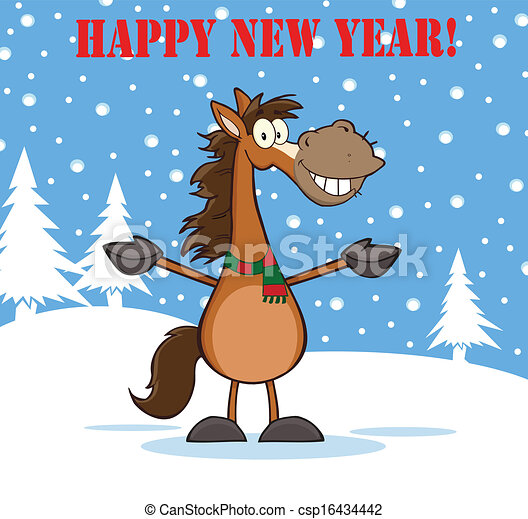 Happy New Year Greeting With Smiling Horse Cartoon Mascot Character Over  Winter Landscape