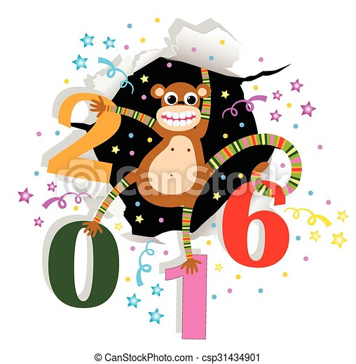 Happy New Year with monkey - csp31434901