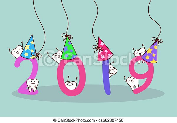happy new year with tooth - csp62387458