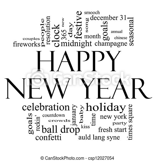 happy new year word cloud in black and white csp12027054