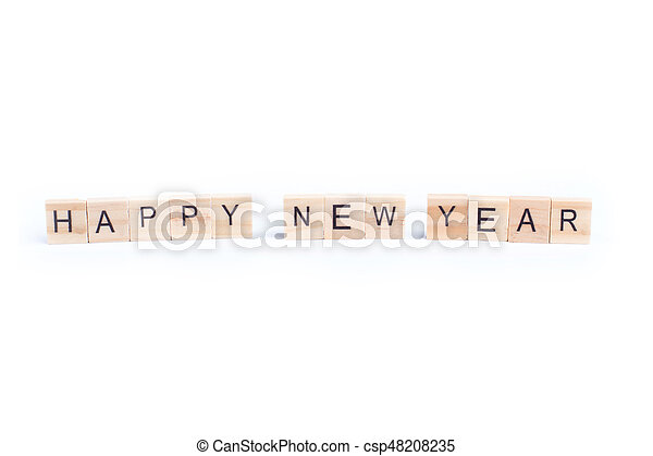 HAPPY NEW YEAR word on square tile concept isolated on white background - csp48208235