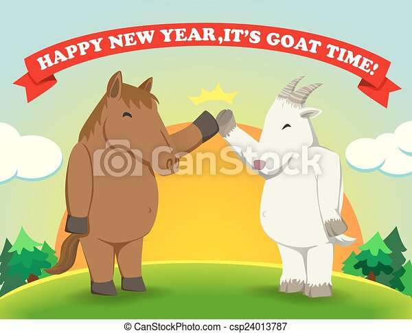happy new yearits goat time sunshine csp24013787