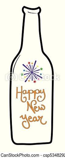 happy new years beer bottle csp53482920