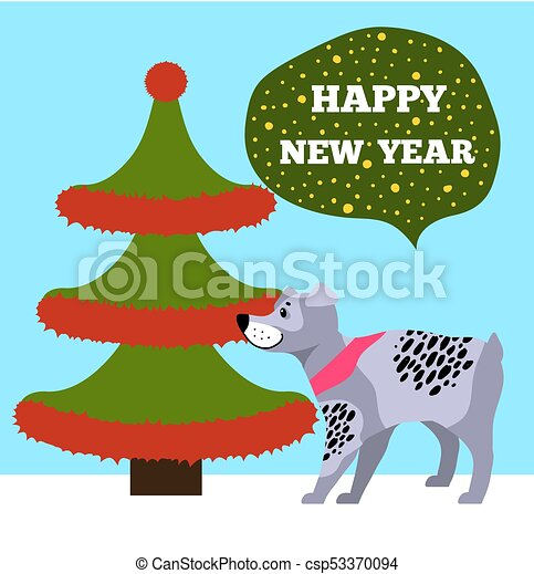 happy new years placard with tree and puppy icons csp53370094