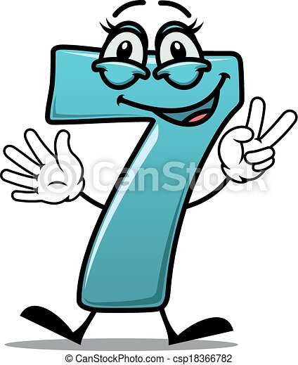 happy number 7 making a victory sign cartoon cute happy vector rh canstockphoto com number 7 clipart black and white number 7 clipart png