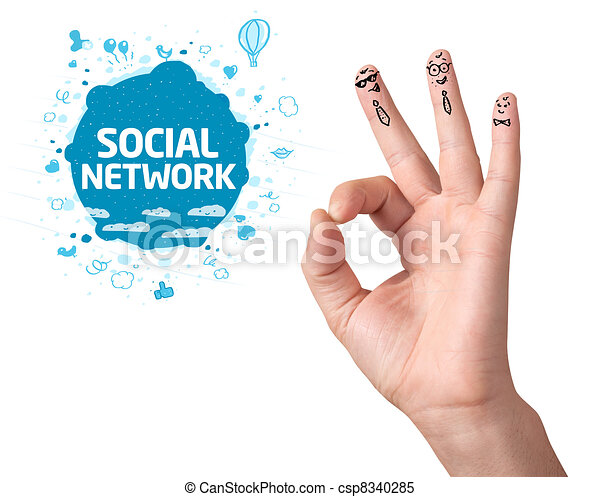 Happy ok fingers with social network sign and icons - csp8340285