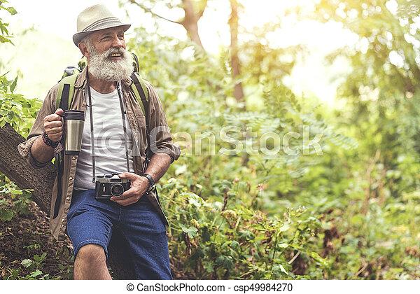 Old Man Hiking Images