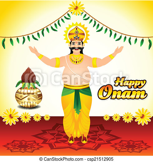 Happy onam background with mahabali - csp21512905