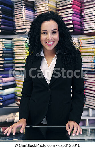 happy owner of a fabric store - csp3125018