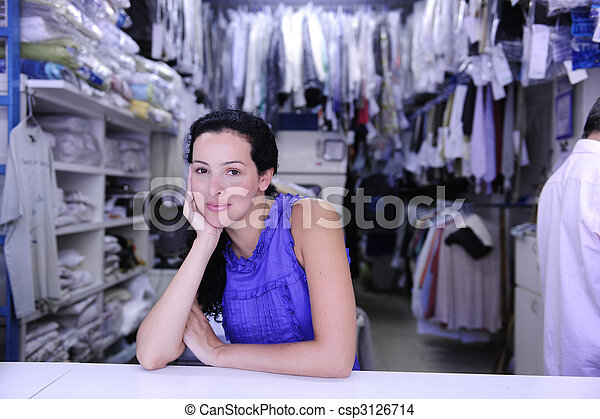 happy owner of a laundry - csp3126714