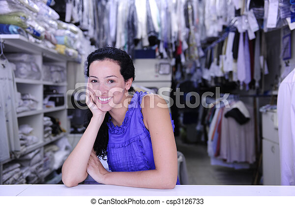 happy owner of a laundry - csp3126733