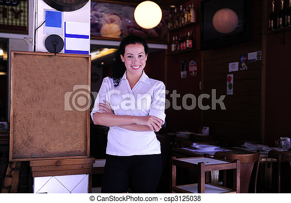 happy owner of a restaurant - csp3125038