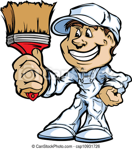 Happy Painter Contractor Standing with Paint Brush Cartoon Vecto - csp10931726