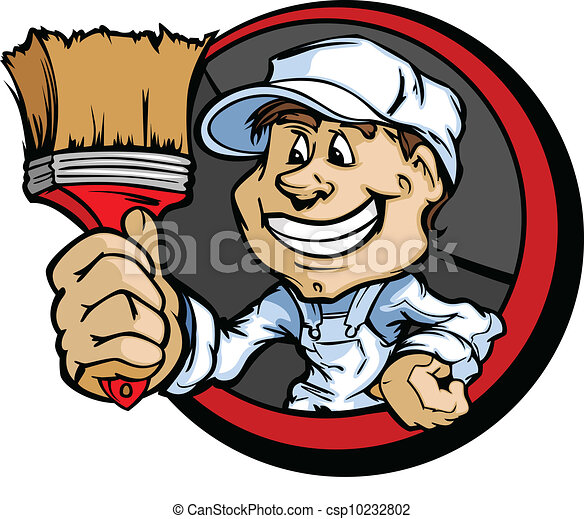 Happy Painter Contractor with Paint Brush Cartoon Vector Image - csp10232802