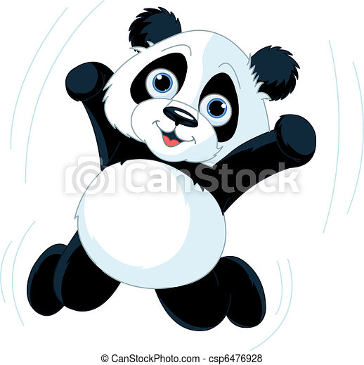 very cute jumping happy panda vector search clip art illustration rh canstockphoto com cute panda head clipart cute panda head clipart