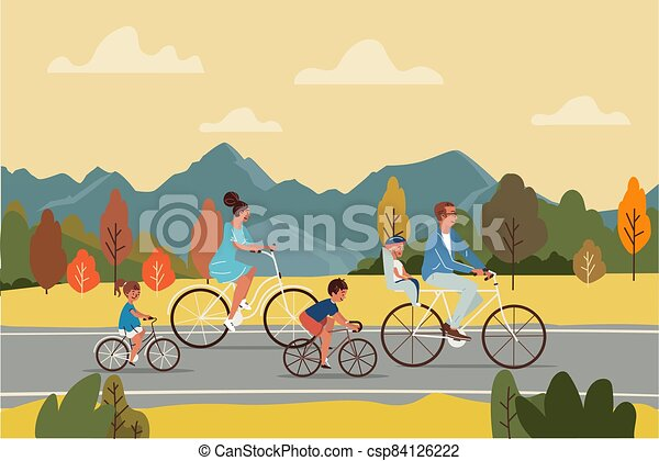 Happy parents and children riding bicycles on asphalt road during trip in autumn countryside vector illustration. - csp84126222