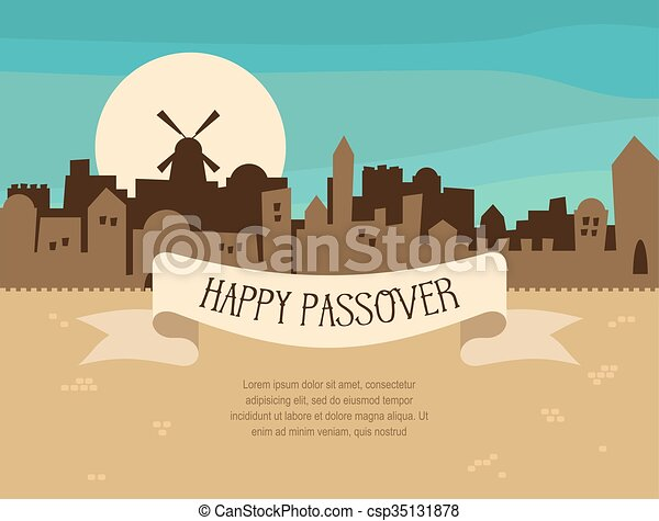 Happy passover greeting card design with jerusalem city skyline happy passover greeting card design with jerusalem city skyline vector illustration m4hsunfo