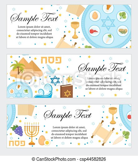 Happy Passover. Jewish holiday banner template for your design. Horizontal Border set. Vector illustration. - csp44582826