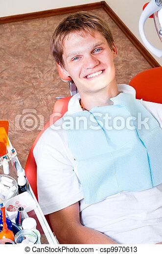 Happy patient in dental chair - csp9970613