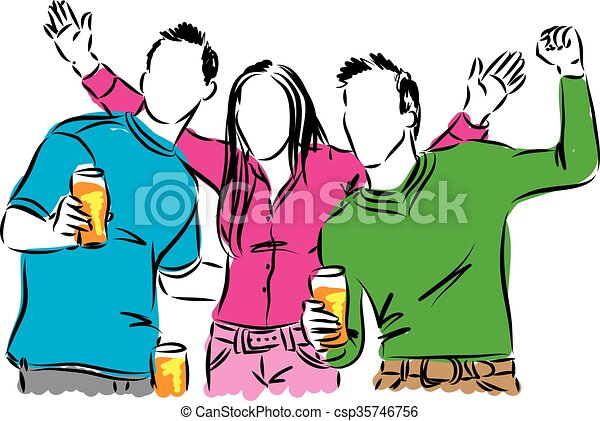 happy people drinking beer illustration