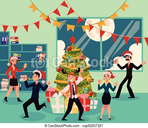 Christmas Party Images Cartoon.Happy People Having Corporate Xmas Party Celebrating Christmas In Office