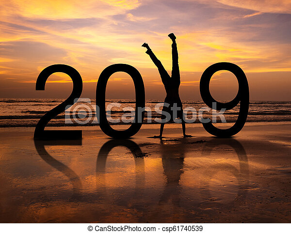 Happy person silhouette in New Year 2019 - csp61740539