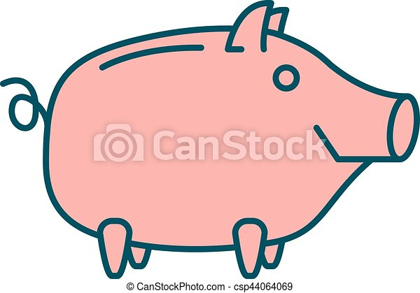happy piggy bank or money box symbol thin line linear clip art rh canstockphoto com free clipart piggy bank savings piggy bank clipart black and white