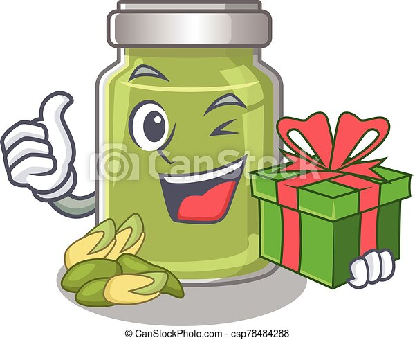 Happy pistachio butter character having a gift box - csp78484288