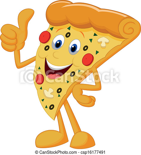 Happy pizza cartoon with thumb up - csp16177491
