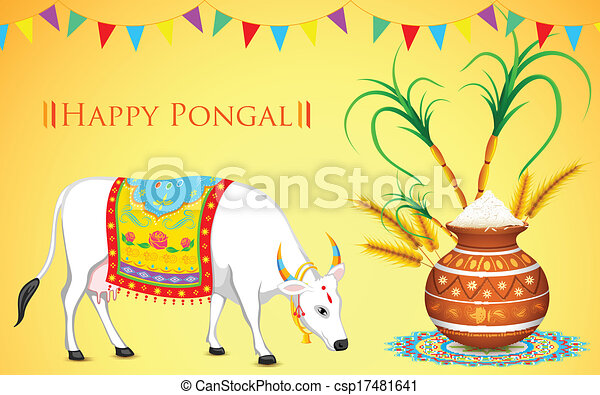 Illustration of happy pongal greeting background happy pongal csp17481641 m4hsunfo