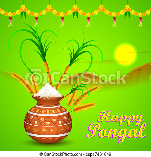Illustration of happy pongal greeting background happy pongal csp17481649 m4hsunfo