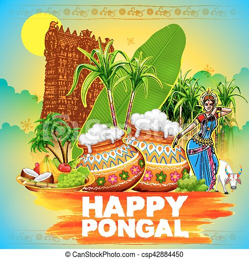 Illustration of happy pongal greeting background happy pongal greeting background csp42884450 m4hsunfo