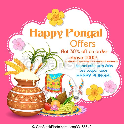 Illustration of happy pongal greeting background happy pongal greeting background csp33186642 m4hsunfo